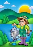Pequeño pescador con los pescados ilustración del vector
