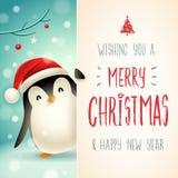 Pequeño pingüino lindo con el letrero grande Diseño de letras de la caligrafía de la Feliz Navidad libre illustration