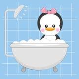Pequeño pingüino lindo en la ducha ilustración del vector