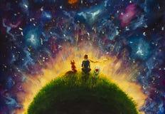 Pequeño príncipe de la pintura al óleo original y zorro y Rose roja que se sientan en hierba debajo del cielo estrellado libre illustration