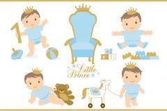 Pequeño príncipe Icono real del trono Sistema del ejemplo lindo para la invitación o la fiesta de bienvenida al bebé del cumpleañ ilustración del vector