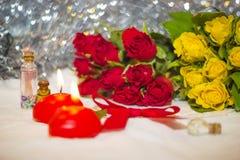 Pequeño primer amarillo y rojo de las rosas Fotografía de archivo libre de regalías