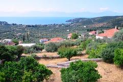 Pequeño pueblo de montaña griego sobre Olive Groves, Grecia Fotos de archivo
