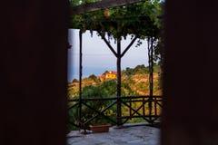 Pequeño pueblo, montaña de Olympus, Grecia Foto de archivo libre de regalías