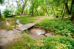 Pequeño puente viejo a través de un río en un bosque Fotos de archivo