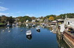 Pequeño puerto de Nueva Inglaterra Fotos de archivo libres de regalías