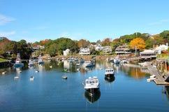Pequeño puerto de Nueva Inglaterra Imagen de archivo libre de regalías