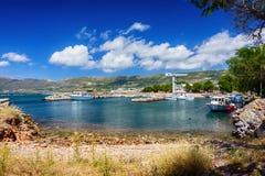 Pequeño puerto en Falasarna, Creta, Grecia Imagen de archivo libre de regalías