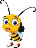 Pequeño pulgar de la historieta de la abeja para arriba Imagen de archivo libre de regalías