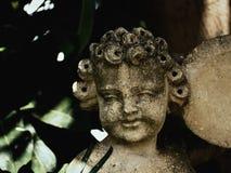 Pequeño punto de piedra con la cabeza rizada en un parque Foto de archivo libre de regalías