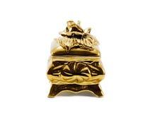 Pequeño rectángulo del joyero de oro Fotos de archivo