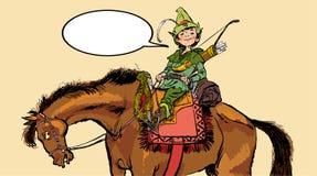 Pequeño Robin Hood en un caballo Niñez de Robin Hood Niño Robin Hood Leyendas medievales Héroes de leyendas medievales libre illustration