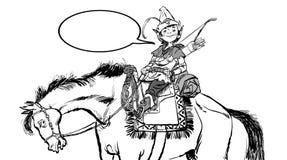 Pequeño Robin Hood en un caballo Niñez de Robin Hood Niño Robin Hood Leyendas medievales Héroes de leyendas medievales ilustración del vector