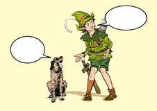 Pequeño Robin Hood y un perro Muchacho y su perro Niñez de Robin Hood Niño Robin Hood Leyendas medievales Héroes de ilustración del vector