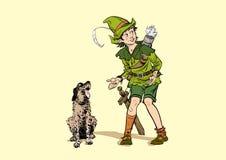 Pequeño Robin Hood y un perro Muchacho y su perro Niñez de Robin Hood Niño Robin Hood Leyendas medievales Héroes de libre illustration