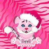 pequeño tigre en un casquillo rojo Fotografía de archivo libre de regalías