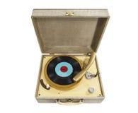 Pequeño tocadiscos del vintage aislado Fotografía de archivo