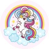 Pequeño, unicornio de la historieta en el fondo del arco iris Vector stock de ilustración