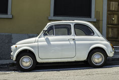 Pequeño vintage blanco Fiat Abarth Foto de archivo libre de regalías