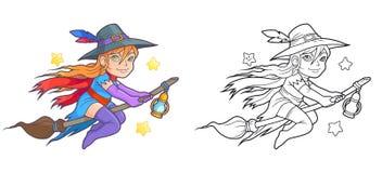 Pequeño vuelo de la bruja en su palo de escoba Imagen de archivo
