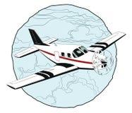 Pequeño vuelo plano sobre las nubes Foto de archivo