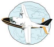 Pequeño vuelo plano sobre las nubes Fotos de archivo libres de regalías