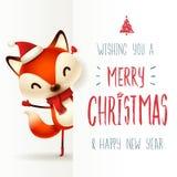 Pequeño zorro lindo con el letrero grande Diseño de letras de la caligrafía de la Feliz Navidad stock de ilustración