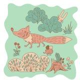 Pequeño zorro rosado incompleto en el bosque Foto de archivo
