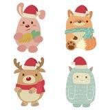 Pequeños amigos de la Navidad stock de ilustración