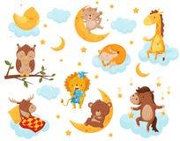 Pequeños animales lindos que duermen bajo sistema estrellado del cielo, pollo precioso, gato, jirafa, caballo, oso, ciervo, búho  stock de ilustración
