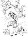 Pequeños cerdo y regalo Fotografía de archivo libre de regalías