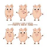 Pequeños cerdos y poner letras a Feliz Año Nuevo Fotografía de archivo libre de regalías