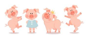 Pequeños cochinillos de la historieta El año del cerdo stock de ilustración