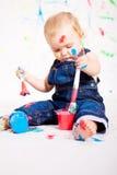 Pequeños colores lindos de la salpicadura de la pintura del bebé imagen de archivo libre de regalías