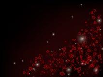 Pequeños corazones rojos dispersados Fotografía de archivo