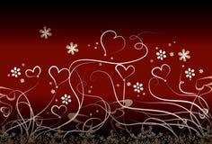 Pequeños corazones y flores stock de ilustración