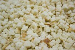 Pequeños cuadrados del pan, cuscurrones hechos en casa Foto de archivo libre de regalías