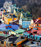 Pequeños edificios coloreados hermosos de Podol Imagen de archivo libre de regalías