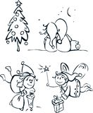 Pequeños elfs y elementos para el diseño. Fotos de archivo