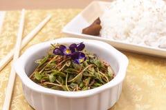 Pequeños ensalada y arroz asiáticos Imagen de archivo