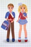 Pequeños escolar y muchacha lindos con el libro, vector Fotos de archivo