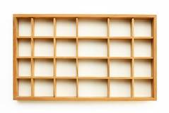 Pequeños estantes de madera Fotografía de archivo