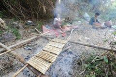 Pequeños fishs ahumados en el fuego en la isla de Don Khon en Laos Foto de archivo