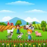 Pequeños granjeros de la historieta con los animales en la granja ilustración del vector