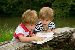 Pequeños hermanos gemelos adorables que miran y que señalan la imagen muy interesante en el libro cerca del lago hermoso Imagenes de archivo