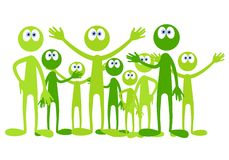 Pequeños hombres verdes de la historieta stock de ilustración