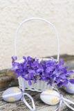 Pequeños huevos de Pascua en una cesta blanca con las violetas Fotos de archivo libres de regalías