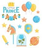 Pequeños iconos lindos del príncipe Ilustración del Vector