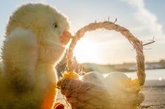 Pequeños juguete y cesta lindos del pollo con dos huevos de Pascua en el mar doc. - concepto de pascua foto de archivo libre de regalías