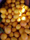 Pequeños limones en cestas en el mercado 4k Fotografía de archivo libre de regalías